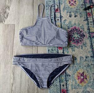 Seafolly navy white striped nautical bikini US 10